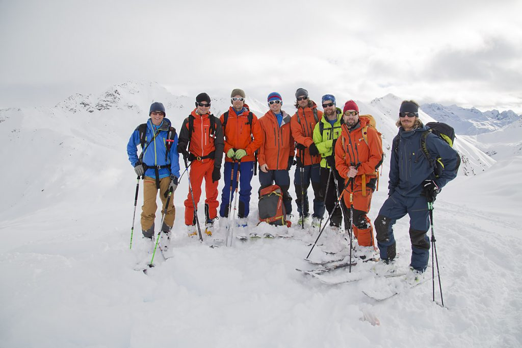 Mikael (second from right) and this year's intake of trainee guides in Davos, Switzerland. Image @Fredrik Schenholm