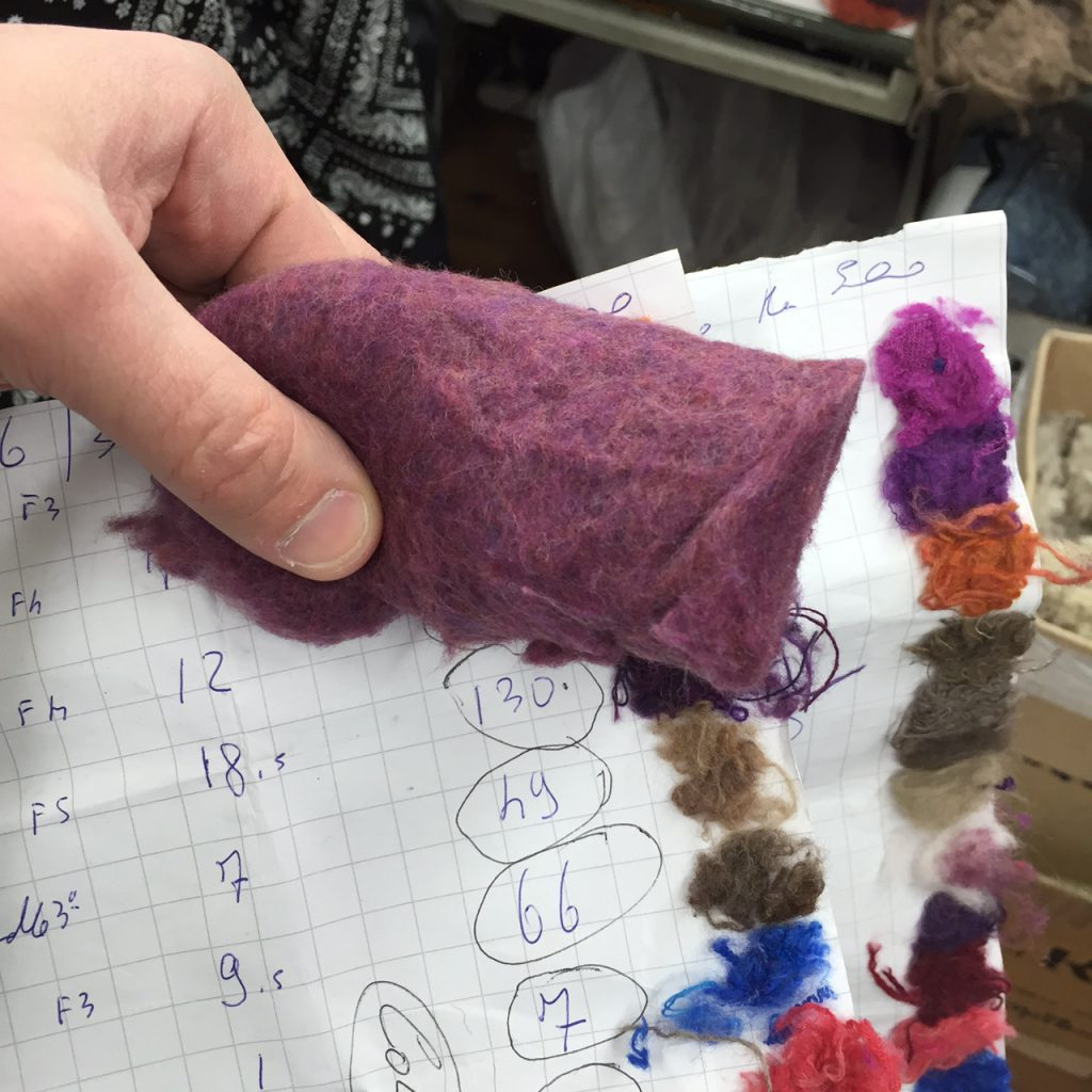 Colouring recycled wool