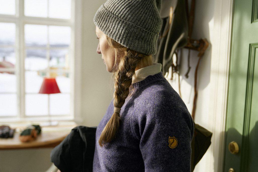 Woman in Re-wool sweater