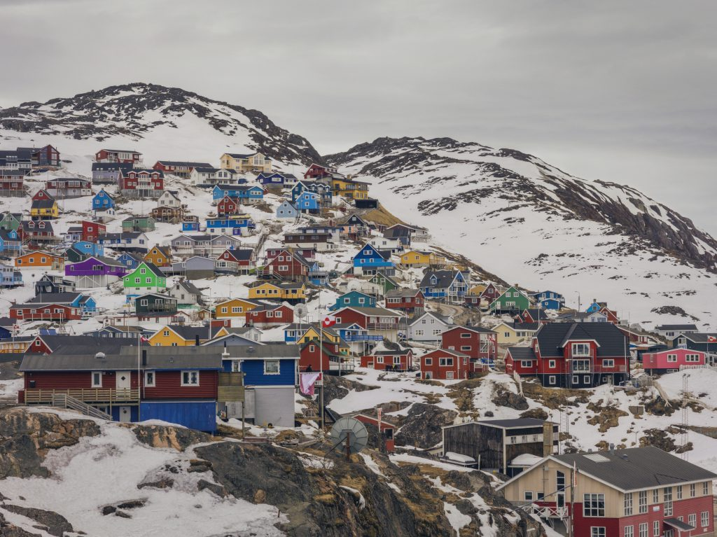 Village of colourful houses on Greenland