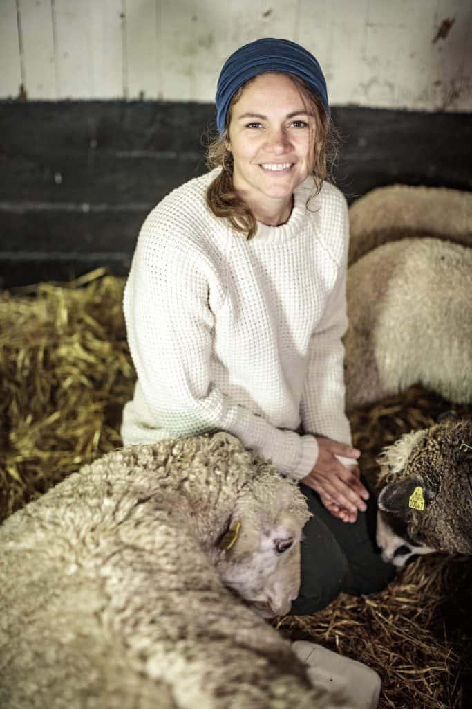 Christiane Dolva, Fjällräven Sustainability Manager, at Brattlandsgården sheep farm