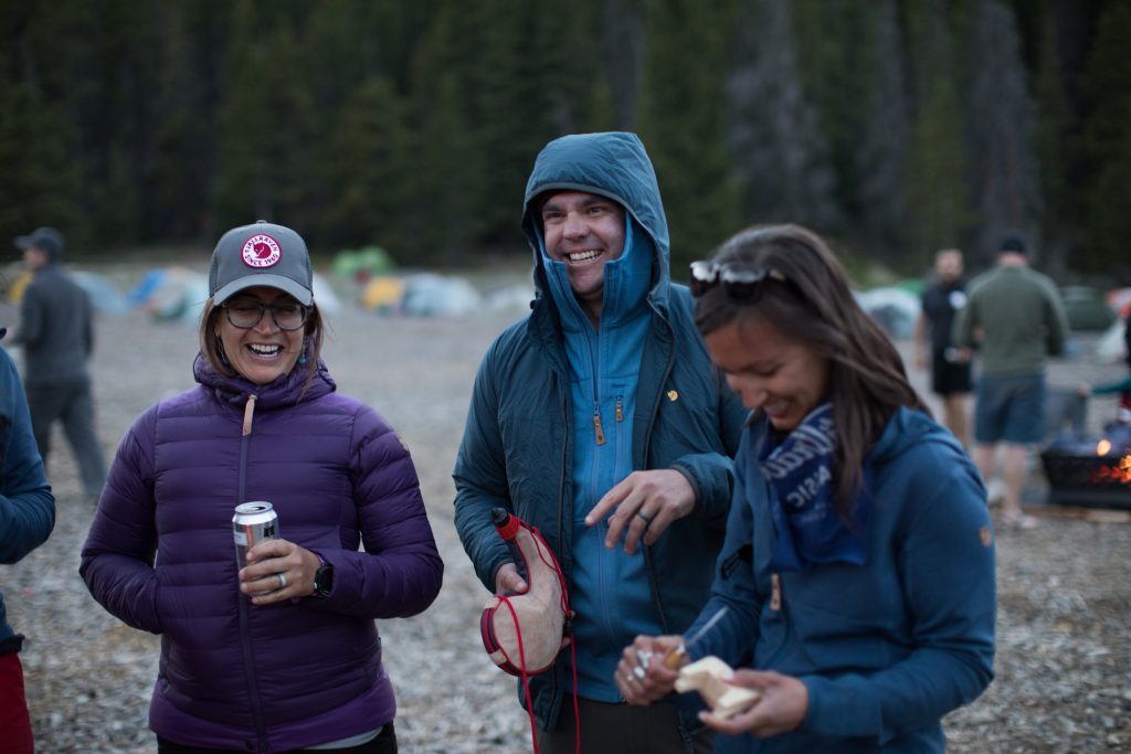 Happy hikers at the end of a trekking day