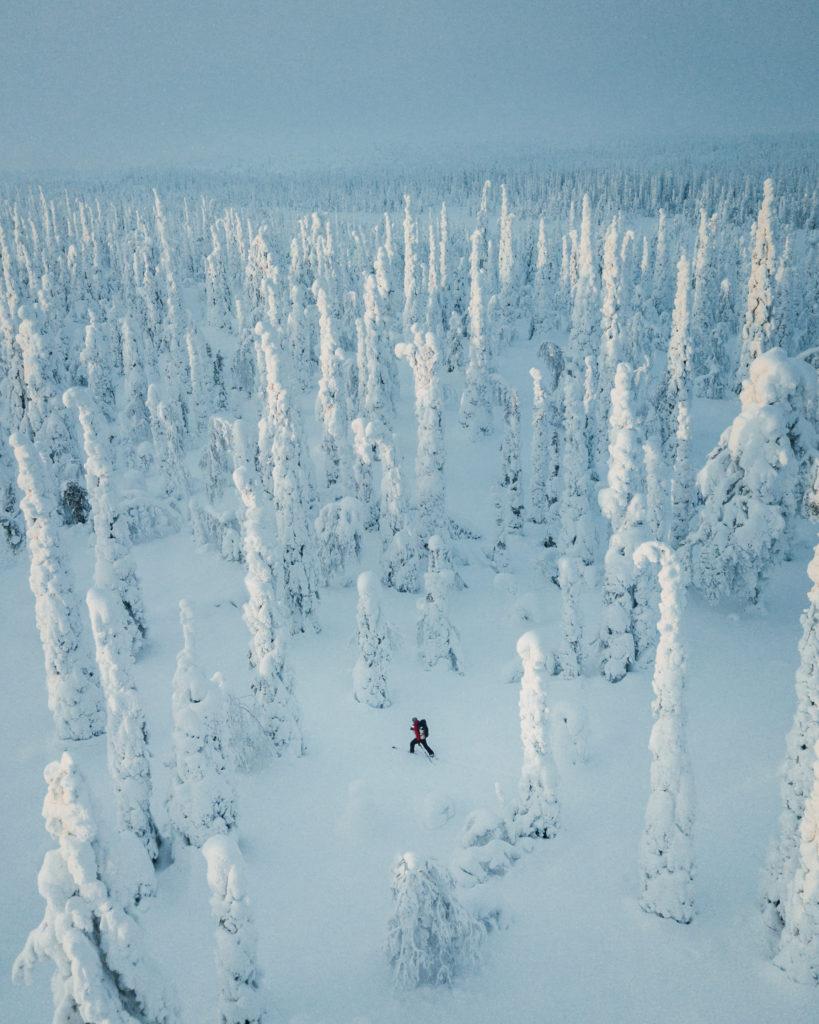 Winter touring on skis