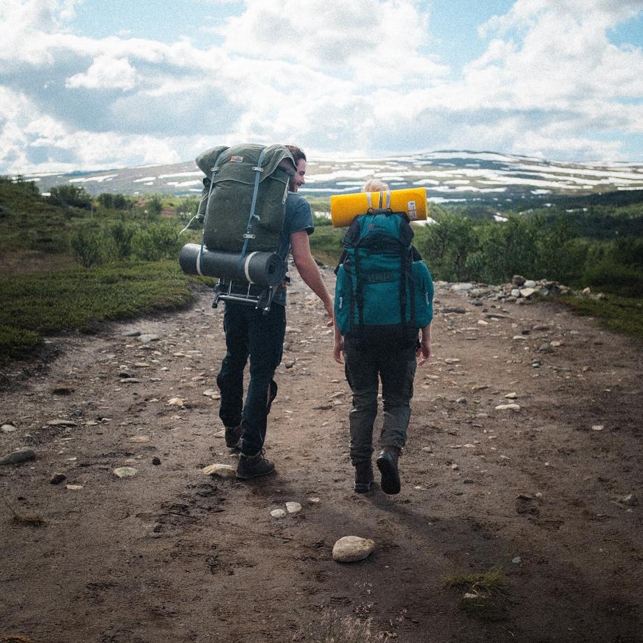 Hikers on the trail, fjällräven backpack