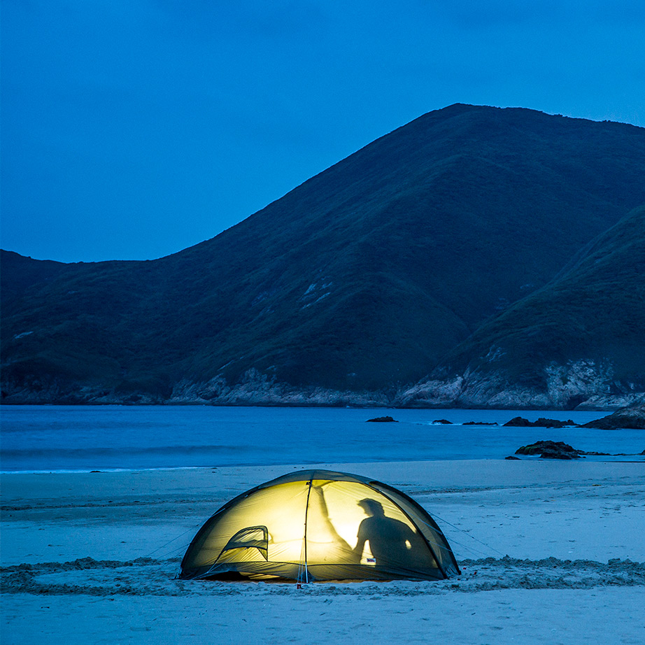 Camping on the beach, fjällräven tent