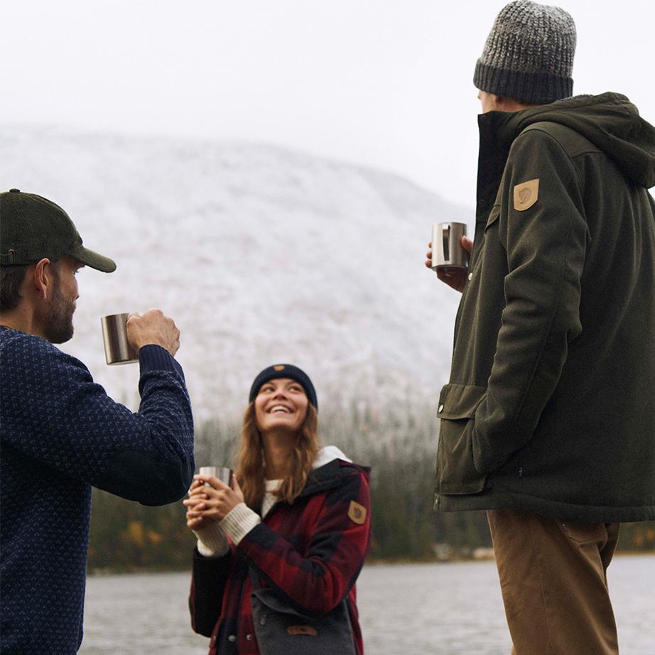 Having a cup of coffee, trekking, fjällräven jacket